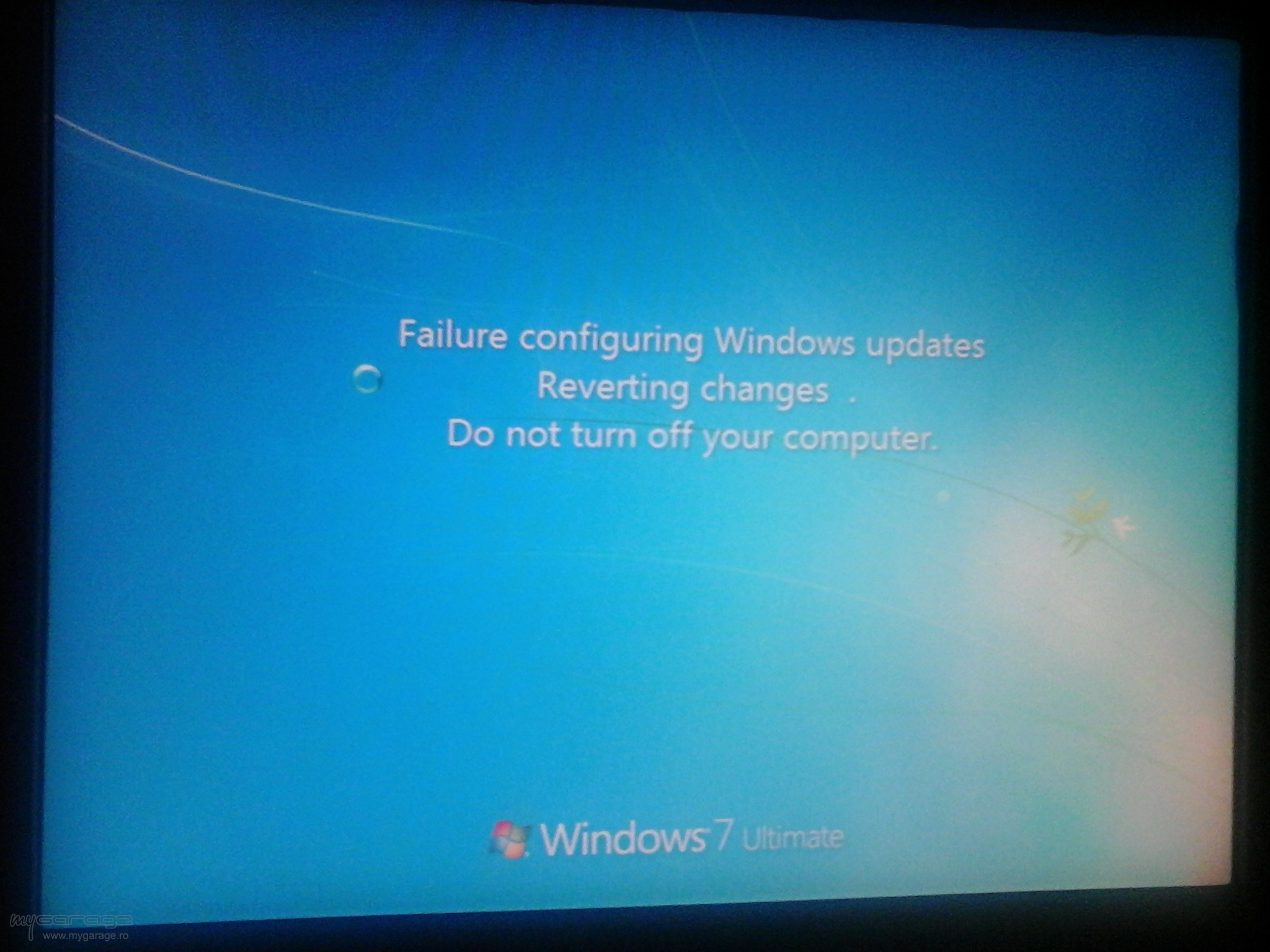 failure to configure windows reverting changes