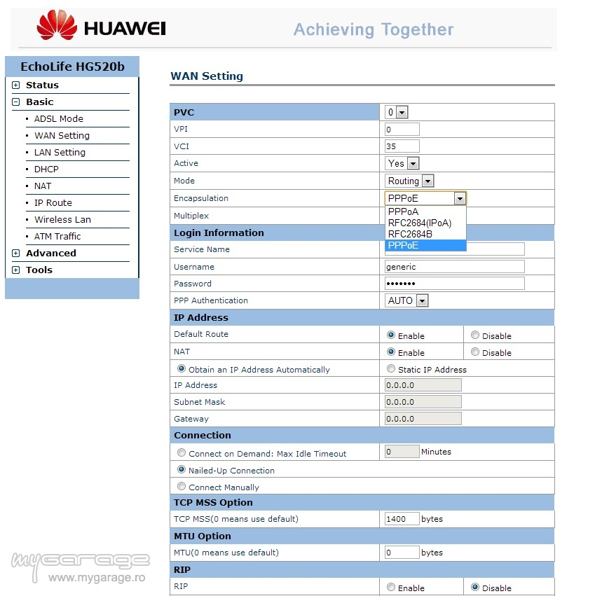 Router wireless hg520b pe RDS